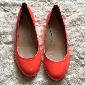 J. Crew Bright Orange Flats with Gold Heel